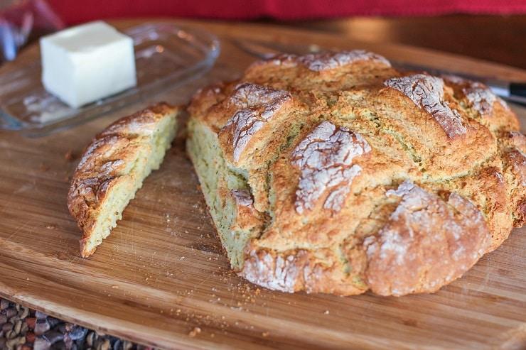 Cheese and Herb Irish Soda Bread - gluten-free   TheRoastedRoot.net #bread #recipe #stpatricksday