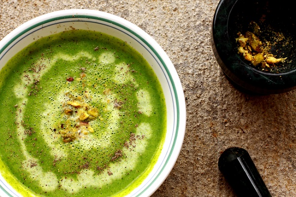 Creamy Healthy Broccoli Pea Soup from Anubhavati