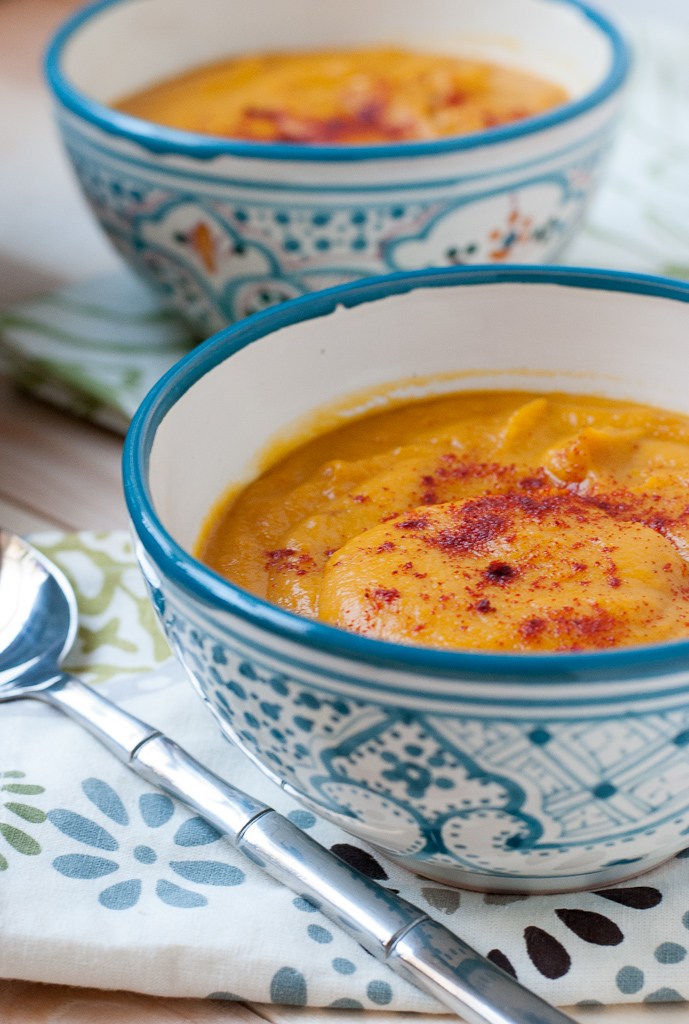 Creamy roasted squash and root veggie soup from Pineapple and Coconut
