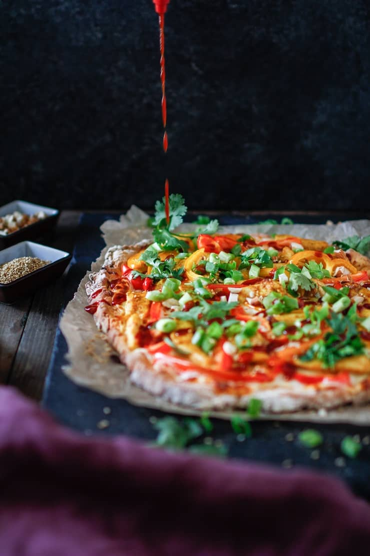 Thai Chicken Pizza with BBQ sauce drizzle