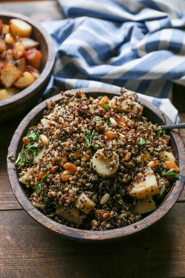 Indian-Spiced Lentil and Quinoa Stuffing | TheRoastedRoot.net @PacificFoods #glutenfree #healthy #holiday #sidedish