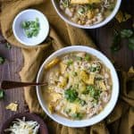 Crock Pot White Chicken Chili - an easy and healthful slow cooker recipe | TheRoastedRoot.net #healthy #dinner #recipe #crockpot