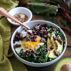 Beet Rice and Garlicky Kale Bowls with Beet Green Pesto - an easy-to-make clean, superfood dinner recipe | TheRoastedRoot.net #vegetarian #vegan #paleo #glutenfree