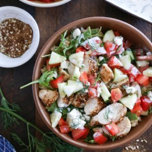 Za'atar Chicken Bowls with Cucumber Salad and Kefir Raita - a healthy meal perfect for dinner any night of the week