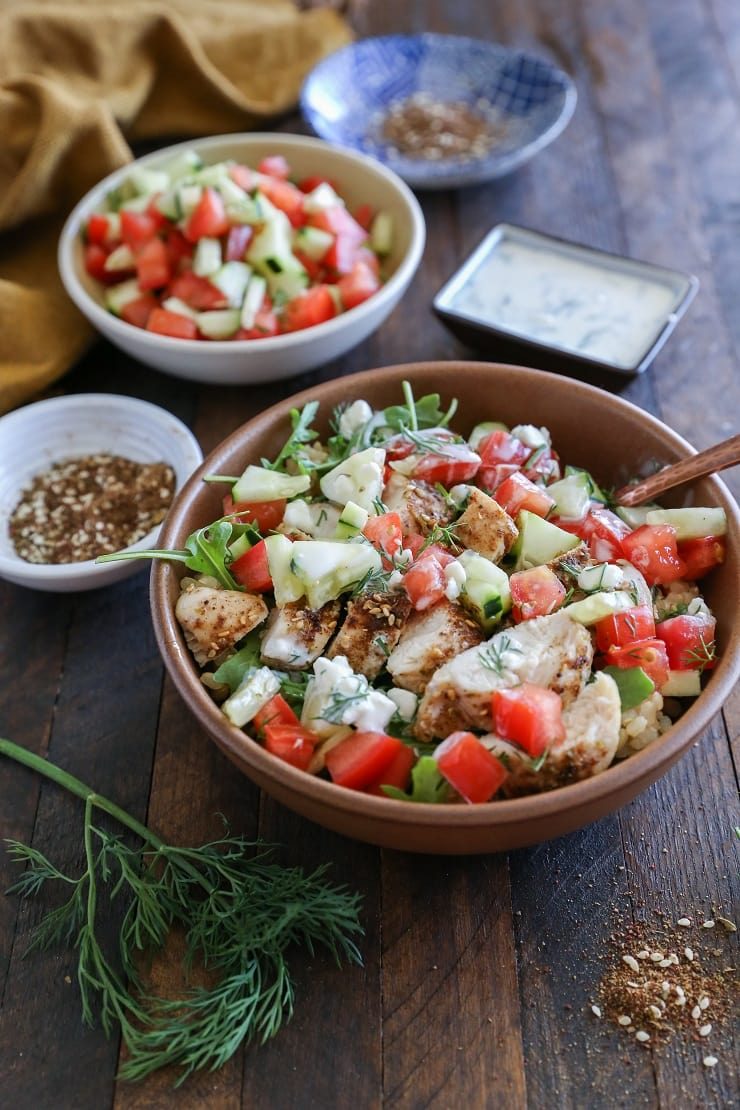 Za'atar Chicken Bowls with Cucumber Salad and Kefir Raita - a healthy whole food dinner perfect for any night of the week