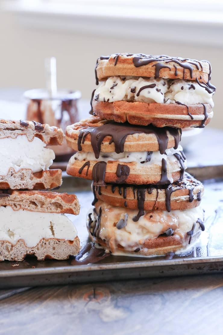 Grain-Free Waffle Ice Cream Sandwiches with Paleo Chocolate Magic Shell