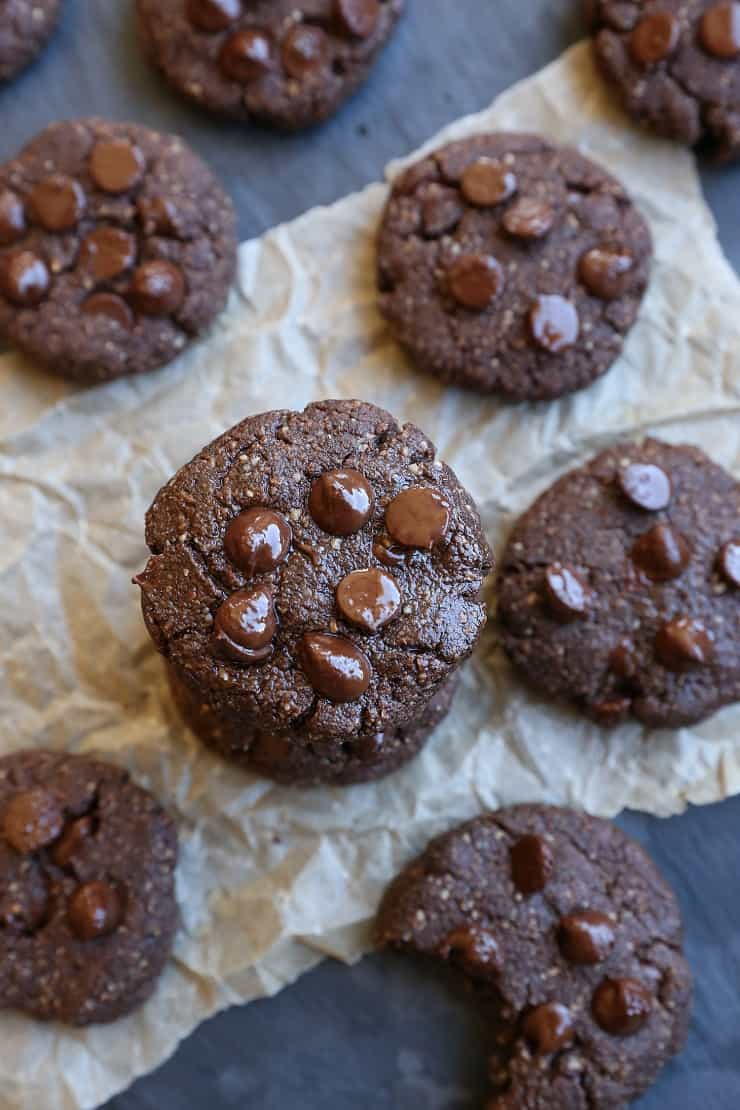 Paleo Double Chocolate Chip Cookies - a healthy cookie recipe made with almond flour, coconut oil, and pure maple syrup. Dairy-free, and naturally sweetened!